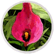 Painted Pink Cala Lily Round Beach Towel