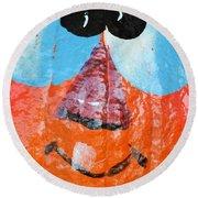 Painted Pumpkin 1 Round Beach Towel