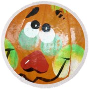 Painted Pumpkin 3 Round Beach Towel