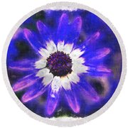 Painted Purple  Round Beach Towel