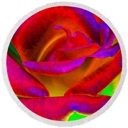 Painted Rose 1 Round Beach Towel