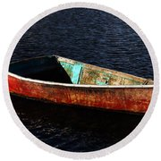 Painted Row Boat Round Beach Towel