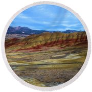 Painted Sky Over Painted Hills Round Beach Towel