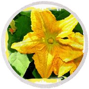 Painted Squash Blossoms Round Beach Towel