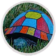 Painted Turtle Sprinkler Round Beach Towel