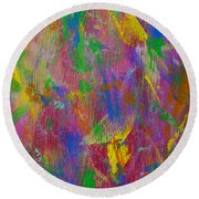 Painted Wooden Wall Round Beach Towel