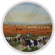 Painting Cows On Cors Caron Tregaron Round Beach Towel