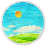 Painting Of Nature In Spring And Summer Round Beach Towel