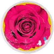 Painting Of Single Rose Round Beach Towel