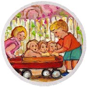 Paintings For Children - Boy - Girl - Red Wagon And Puppies Round Beach Towel