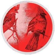Pair Of Cardinals Round Beach Towel