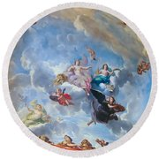 Palace Of Versailles Ceiling Art Round Beach Towel