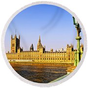 Palace Of Westminster From Bridge Round Beach Towel