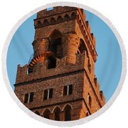 Palazzo Vecchio In Florence  Round Beach Towel