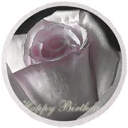Pale Pink Rose Greeting Card.   Birthday Round Beach Towel