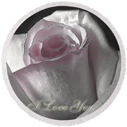 Pale Pink Rose Greeting Card   I Love You Round Beach Towel