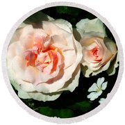 Pale Pink Roses In Garden Round Beach Towel