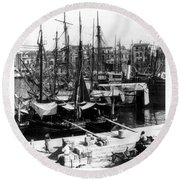 Palermo Sicily - Shipping Scene At The Harbor Round Beach Towel