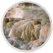Palette Spring In Mammoth Hot Springs Round Beach Towel