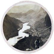 Palisades Railroad View - California - C 1865 Round Beach Towel