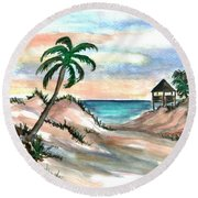 Palm Cost Round Beach Towel