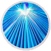 Palm Frond In Blue Round Beach Towel
