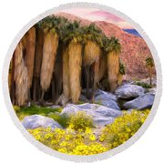 Palm Oasis And Wildflowers Round Beach Towel