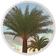 Palm On The Avenida Round Beach Towel
