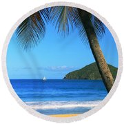 Palm Shaded Island Beach  Round Beach Towel