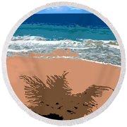 Palm Shadow On The Beach Round Beach Towel