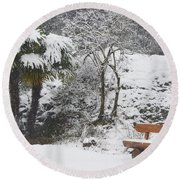 Palm Tree And A Bench With Snow Round Beach Towel