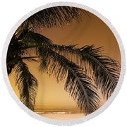 Palm Tree And Sunset In Mexico Round Beach Towel
