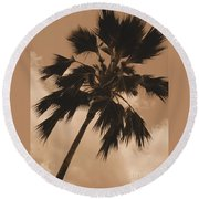 Palm Tree Leeward Oahu Round Beach Towel