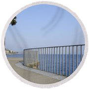 Palm Tree On The Lakefront Round Beach Towel