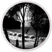 Palm Tree Silouette Round Beach Towel