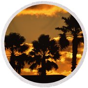 Palm Trees In Sunrise Round Beach Towel