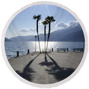 Palm Trees With Shadows Round Beach Towel