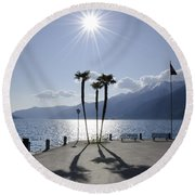 Palm Trees With Shadows On The Lakefront Round Beach Towel