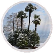 Palm Trees With Snow Round Beach Towel