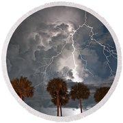 Palms And Lightning  Round Beach Towel
