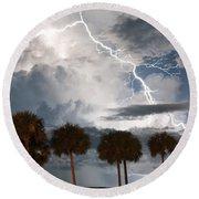 Palms And Lightning 3 Round Beach Towel