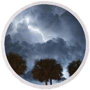 Palms And Lightning 5 Round Beach Towel