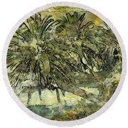 Palms Haiku Round Beach Towel