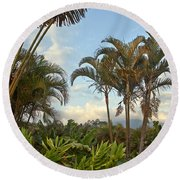 Palms In Costa Rica Round Beach Towel