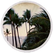 Palms In The Breeze Round Beach Towel