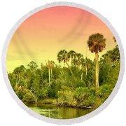 Palms In Twilight Round Beach Towel
