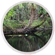 Palms On The River Round Beach Towel