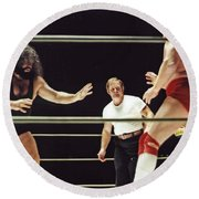 Pampero Firpo Vs Texas Red In Old School Wrestling From The Cow Palace  Round Beach Towel