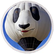 Panda Bear Hot Air Balloon Round Beach Towel