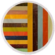 Panel Abstract - Digital Compilation Round Beach Towel by Michelle Calkins